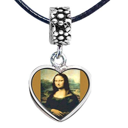 GiftJewelryShop Silver Plated Da Vinci's Art Mona Lisa Photo Flower Head Dangle Heart Bead Charm Bracelets