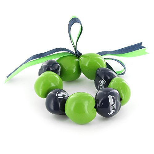 - aminco NFL Seattle Seahawks Kukui Nut Bracelet, Green/Blue