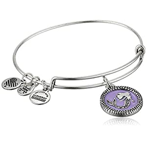 Alex and Ani Women's Color Infusion Mermaid Charm Bangle Bracelet, Rafaelian Silver, Expandable
