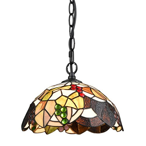 EUL Tiffany Style Hanging Light Ceiling Pendant Fixture Antique Brass & Art Colorful Glass Shade-1 Light