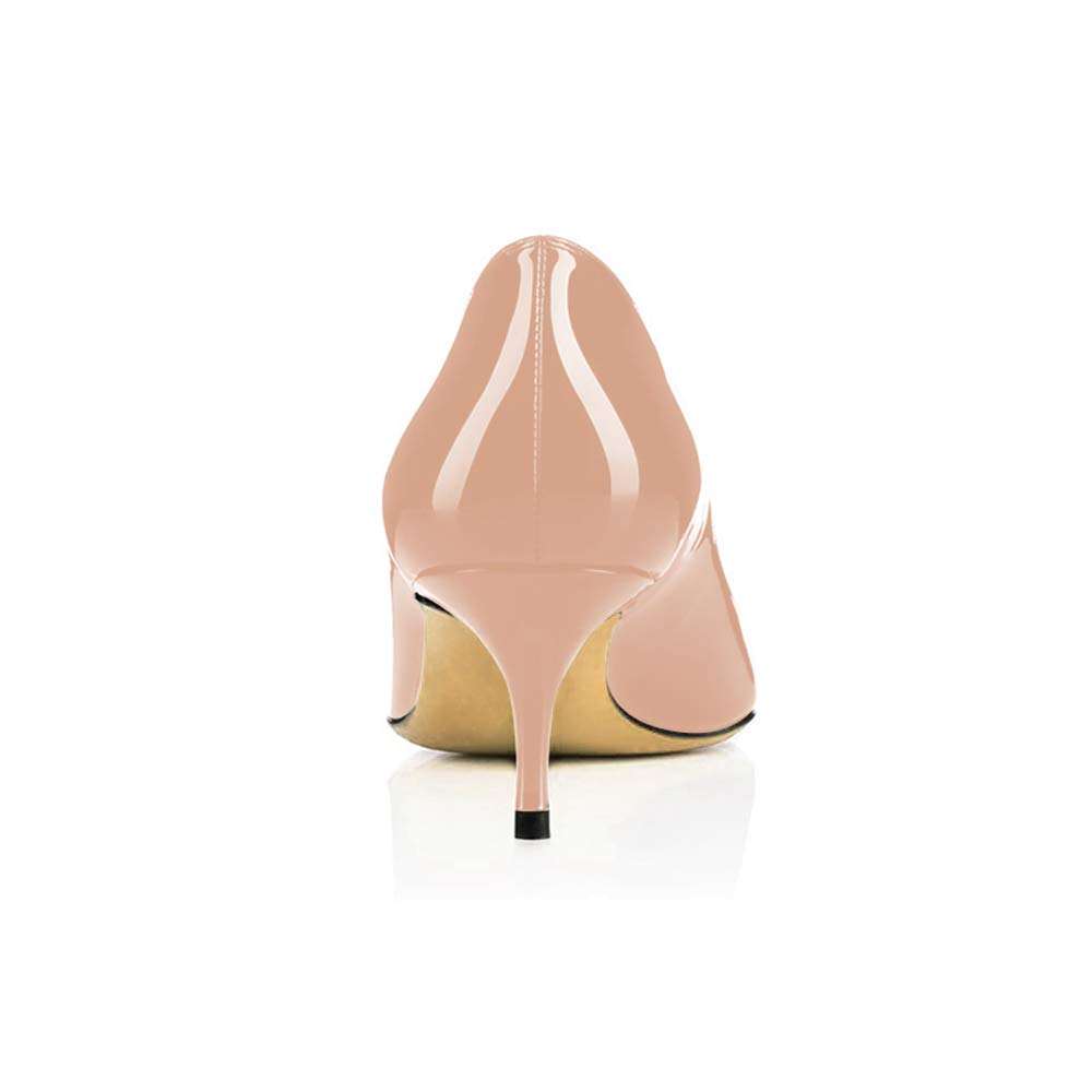d2e43917cb965 Modemoven Women's Patent Leather Pointed Toe Kitten Heels Gorgeous Pumps  Evening Stiletto Shoes 5.5CM