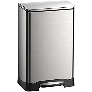 EKO 92614-1 Neo Cube 10.5 Gallon Stainless Steel Step Trash Can with Lid | 40 Liter Waste Bin