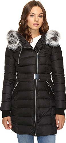 French Connection Women's Down Coat with Belt and Sherpa Lined Faux Fur Hood, Black, L