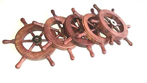 Nautical Pirate Wooden Ship Wheel Set of 5 W/brass Hub