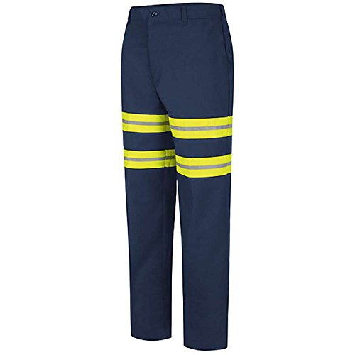 (Red Kap Mens DuraKap Industrial Work Pant, Navy with Yellow/Green Visibility Trim, 46W x 37 Unhemmed)