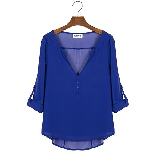 c2ba2cca70cd5 POSESHE Women s V-Neck Button Detail Dip Back Solid Blouse Top cheap ...