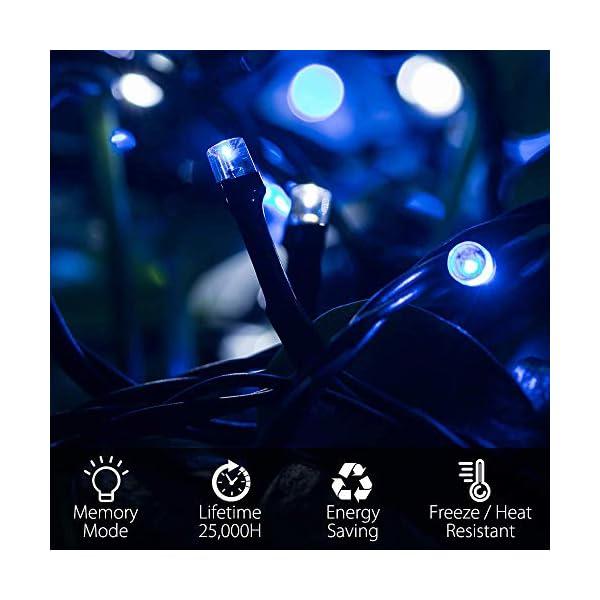 Elegear 40M 300LEDs Luci Natale Esterno IP44 Impermeabile Luci Natale Batteria con 8 Modalità Illuminazione, Decorazione per Natale, Giardino, Patio, Albero di Natale - Blu Bianco 2 spesavip