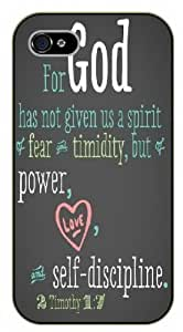 iPhone 4S Bible Verse - For God has not given us a spirit of fear. 2 Timothy 1:7 - black plastic case / Verses, Inspirational and Motivational