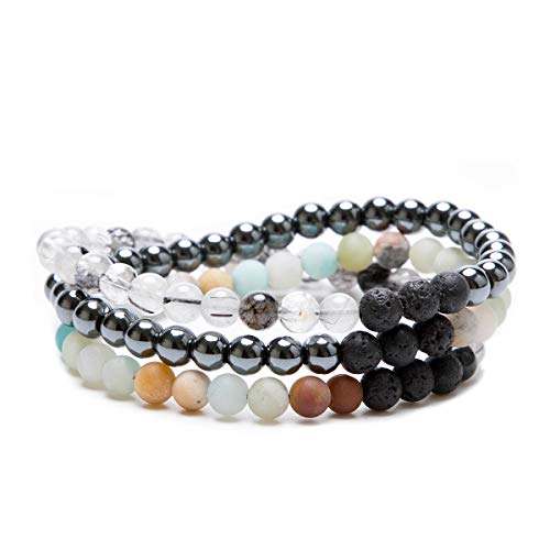 - Bivei 3 Layers Essential Oil Bracelets - Natural Gemstone Bead Lava Rock Stone Aromatherapy Diffuser Anxiety Relief Bracelet(Multi Stone)