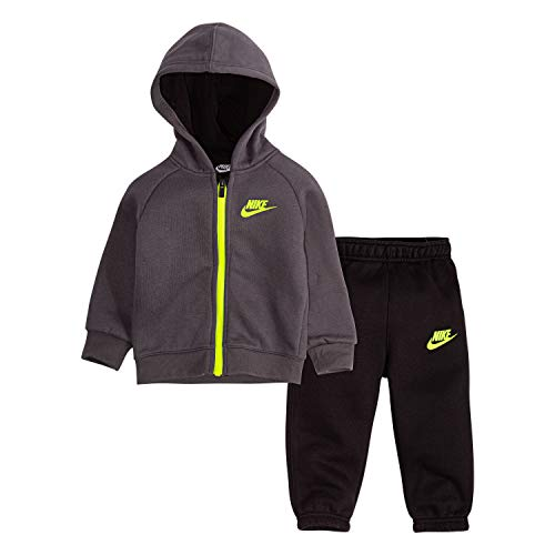 NIKE Children's Apparel Baby Boys' Toddler Hoodie and Joggers 2-Piece Outfit Set, Black/Dark Grey, 3T