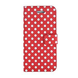 Round Dots Pattern PU Case with Card Slot for iPhone 5C (Assorted Colors) --- COLOR:Red