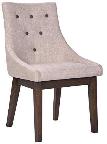 Merax Stylish Fabric Dining Chairs with Solid Wood Legs and Decorative Buttons, Beige, Set of 2 -  - kitchen-dining-room-furniture, kitchen-dining-room, kitchen-dining-room-chairs - 41dPI0cRsrL -