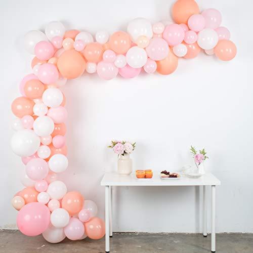 Balloon Garland Kit - Pink, White, Blush Balloons for Parties - Large, Small Baby Pastel Matte Balloons Bulk - Balloon Tape, Balloon Garland Strip - Light Pink Balloon Arch Kit 16' (Balloons Blush Giant)