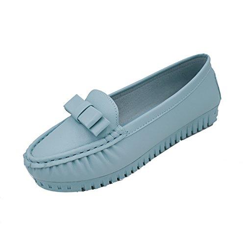 Primavera y otoño ronda arco zapatos de poca profundidad de la boca/Baja zapatos casual tacón bajo cielo azul