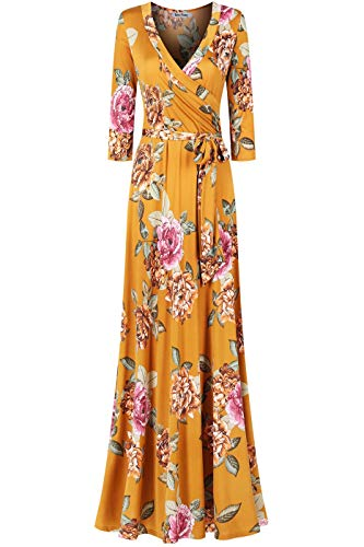 Bon Rosy Women's MadeInUSA 3/4 Sleeve V-Neck Printed Maxi Wrap Dress Summer Wedding Guest Party Bridal Baby Shower Maternity Nursing Mustard Multi XL