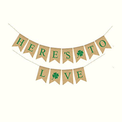 Famoby St. Patrick's Day Decorations HERE'S TO LOVE Burlap Banner Irish Four Leaf Clover Shamrock Flags