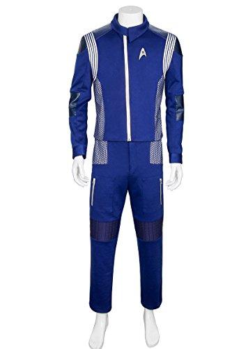 Partyever Trek Discovery Science Uniform 2017 New Starfleet USS Shenzhou Lt. Saru Cosplay Costume Halloween Men's Outfit (Custom Made)
