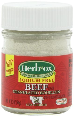 Herbox Granular Sodium Free Beef Bouillon, 3.3-Ounce (Pack of 6)