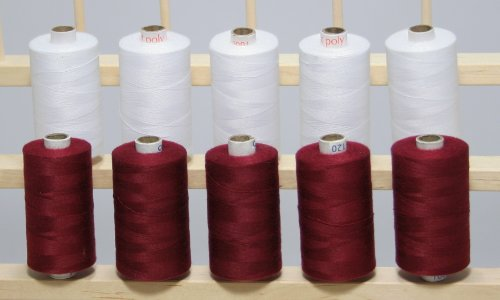 New ThreadNanny 5 MAROON & 5 WHITE Spools of 3-PLY Polyester Sewing Quilting Serger thread