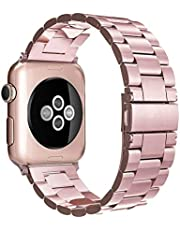 Simpeak Band Compatible with iWatch 38mm 40mm, Stainless Steel Wirstband Strap for iWatch Series 5 4 3 2 1, Rose Gold