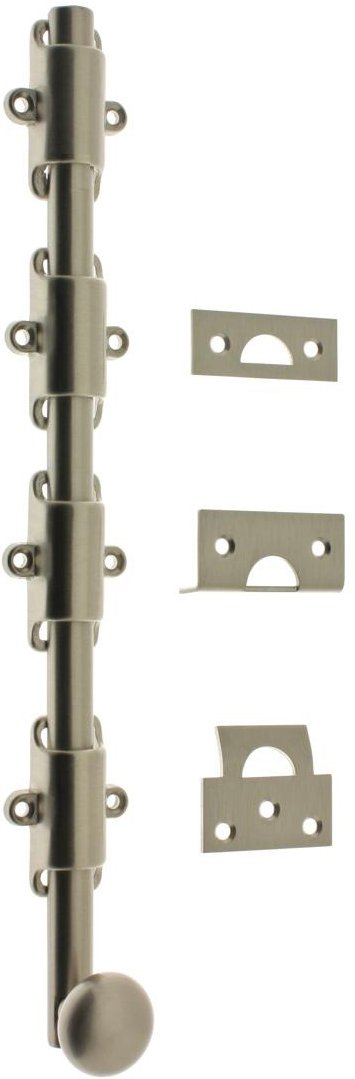 Professional Grade Quality Genuine Solid Brass 24'' Heavy Duty Surface Bolt With Round Knob by idh (Satin Nickel)