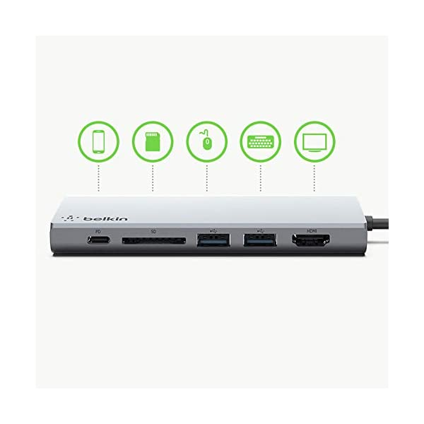 Belkin USB-C Multimedia Hub with Tethered USB-C Cable (USB-C Dock for Mac OS and Windows USB-C Laptops)