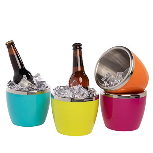 EdgeHome 4 Pack Mini Small Ice Buckets Double Wall Stainless Steel Insulated Pink Green Blue Orange - Mini Ice Bucket