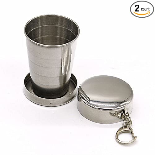 Backpacking(2 Pack) Backpacking/(2 Pack/) NC-SSBZ2-175 nex/&co Collapsible Travel Cup Hiking 2 Pack Whole Stainless Steel Portable /& Foldable Outdoor Drinking Cup Ideal for Travel Camping
