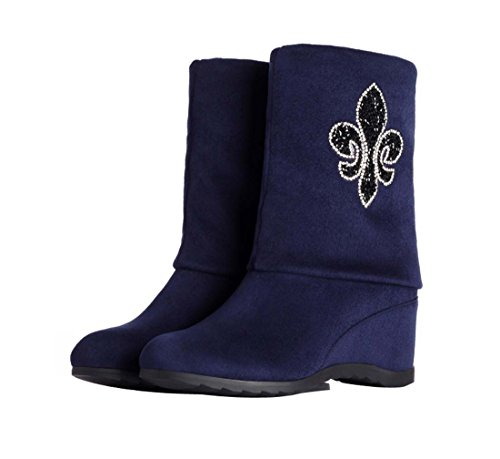 HooH Damen Diamanten Höhe Erhöhen Stiefel A230 Blau