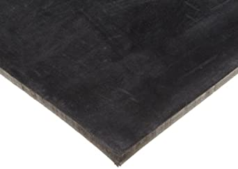 "Neoprene Sheet, 60A Durometer, Smooth Finish, Adhesive Backing, Black, 0.032"" Thickness, 12"" Width, 12"" Length"