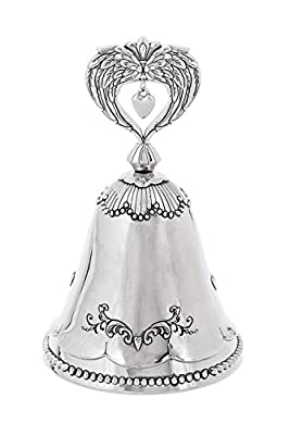 Spring GZ Wedding Memorial Heart Silver Tone 4 inch Zinc Alloy Metal Decorative Bell