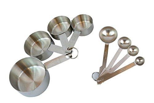 8 Pieces Stainless Steel Measuring Cups and Measuring Spoon