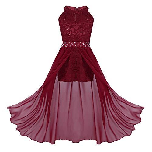 Freebily Little Big Girls Halter Neck Chiffon Dress Party Wedding Evening Prom Maxi Gown Long Dresses Burgundy (Rhinestone) 10
