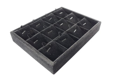 Black Velvet 12 Compartment Earrings Pendant Jewerly Display Case Tray 20x15x3cm