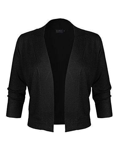 BBP Classic 3/4 Sleeve Open Front Cropped Bolero Cardigan Black M - Cardigan Sweater Dress