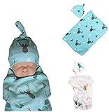 BANGELY Newborn Baby Boys Girls Deer Swaddle Blanket Warm Coming Home Cotton Bath Towel Size 0-12 Months,Blue