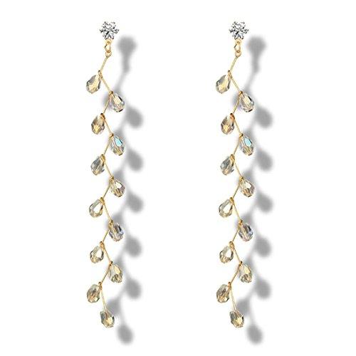 Dangles Climber - Dangle Earrings,Caopixx Elegant Long Pomegranate Crystals Chandelier Earrings for Women Jewelry Wedding Earrings (C, alloy)