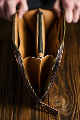 women unisex wallet wallet Brown clip men Leather Bag for money Pouch Clutch StqFI