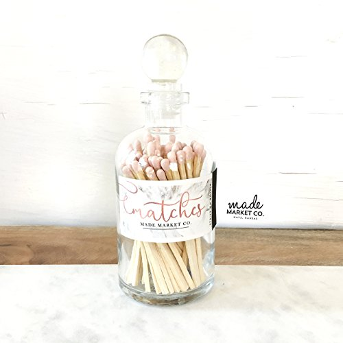 Light Pink / Nude Tip Colored Matches. Match Sticks Ball Glass Top Bottle. Farmhouse Home Decor. Unique Gifts for her. Best Seller Most Popular Item