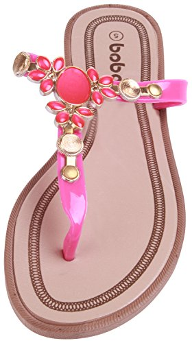 Enimay Rhinestone Strap Slip-On Flat Flip-Flop Thong Sandal 136 | Pink HC2563rEw