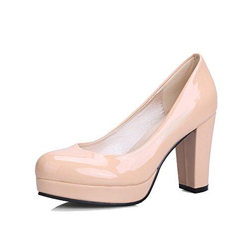 AllhqFashion Damen Rund Zehe Hoher Absatz Rein Ziehen auf Pumps Schuhe