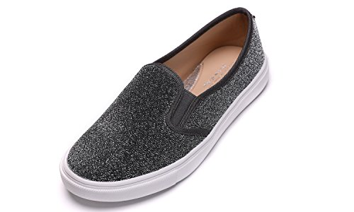 Feversole Women's Fashion Slip-On Sneaker(6,Grey)