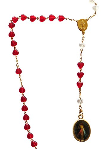 (Divine Mercy Rosary Señor De La Misericordia with Red Heart-shaped)