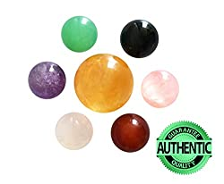 Set Of 7 Natural Crystal Balls Made Of Yellow Calcite, Black Obsidian, Rose Quartz, Clear Quartz, Green Aventurine, Amethyst & Red Agate Spheres, For Chakra Stones & Fengshui