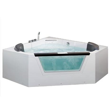 Ariel AM156JDTSZ Bath Whirlpool Tub, 2 Person, Pentagon Corner, White