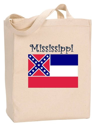 (MISSISSIPPI - FLAG - State Series - Natural Canvas Tote Bag with Gusset)