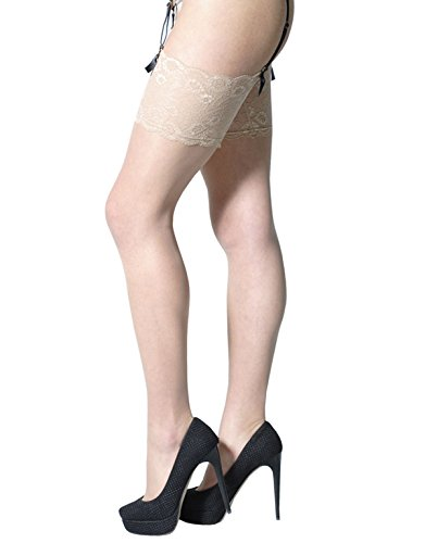 THIGH HIGH PANTYHOSE | WIDE LACE TOP | BRIDAL PANTYHOSE | IVORY, WHITE, SKIN | 15 DEN | S, M/L | ITALIAN HOSIERY | (S, SKIN)