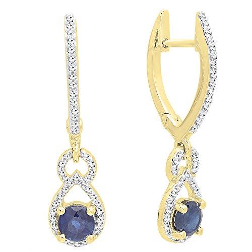 (14K Yellow Gold Round Each 4 MM Blue Sapphire & White Diamond Ladies Dangling Drop Earrings)