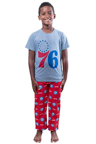 NBA Philadelphia 76ers Boston Celtics Boys 2 Piece Pjs Lounge Pants & Tee Set, Red, 7