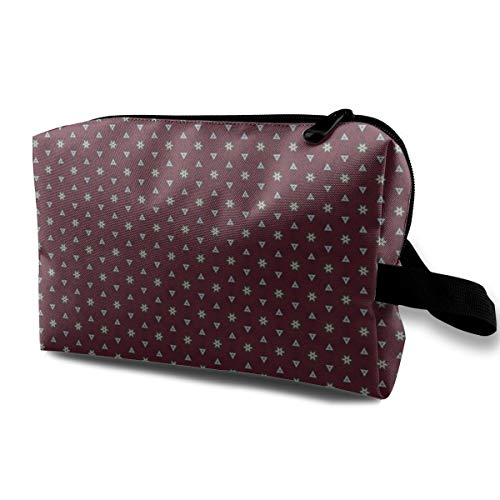 Bordeaux Collection Stars And Triangles_3132 Toiletry Bag Cosmetic Bag Portable Makeup Pouch Travel Hanging Organizer Bag For Women girl 10x5x6.2 inch